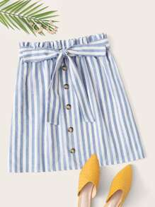 Plus Button Front Paperbag Waist Belted Striped Skirt