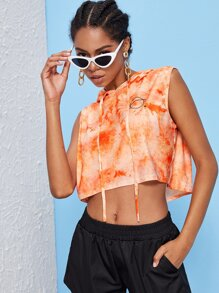 Geo Print Sleeveless Tie Dye Hooded Top
