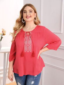 Plus Tassel Knot Front Embroidery Detail Top