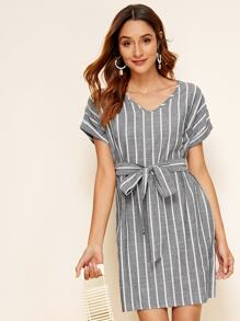 Rolled Cuff Batwing Sleeve Self Belted Striped Dress