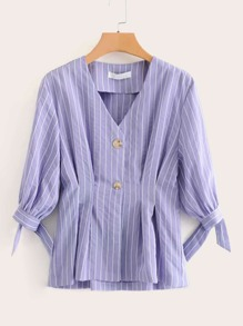 Vertical-striped V-neck Knot Cuff Peplum Blouse