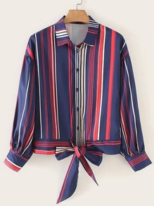 Vertical-striped Button Through Tie Hem Blouse