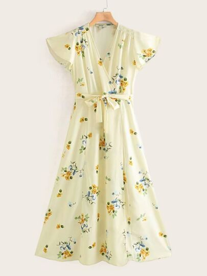 Floral Print Butterfly Sleeve Belted Wrap Dress