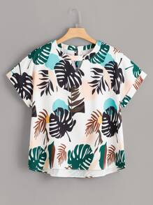 Plus Topical Print Dip Hem Blouse