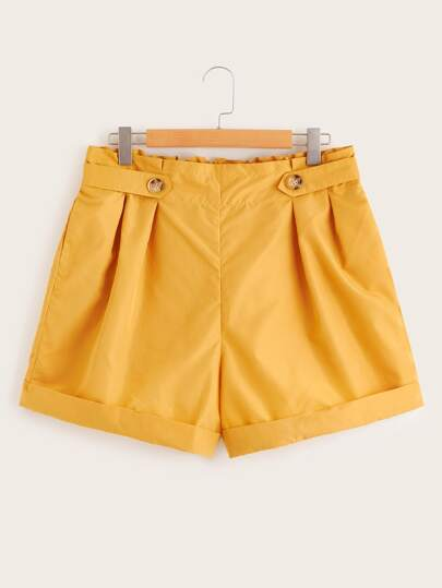 Plus Rolled Hem Frill Waist Shorts