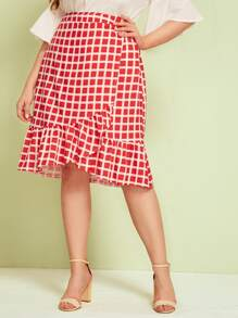 Plus Ruffle Hem Plaid Skirt