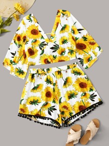 Plus Sunflower Print Knot Back Top With Pom Pom Shorts