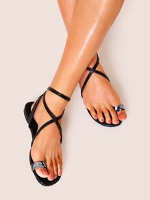 Toe Ring Cross Strap Flat Sandals