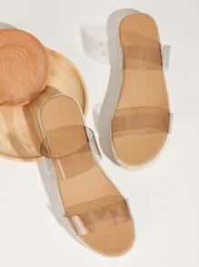 Double Clear Strap Espadrille Sliders