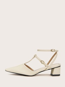 Point Toe Ankle Strap Chunky Heels