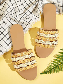 Color Block Woven Flat Sliders