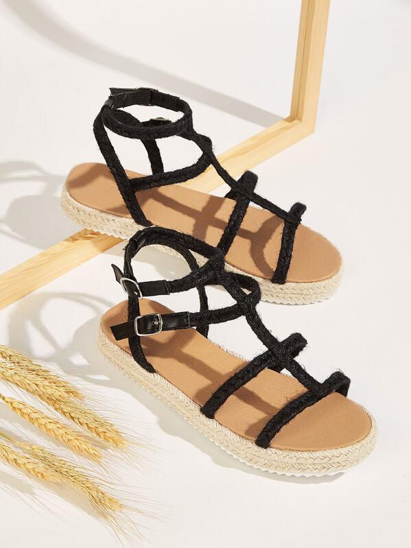 583a8d93214 Linen Strappy Espadrille Sandals