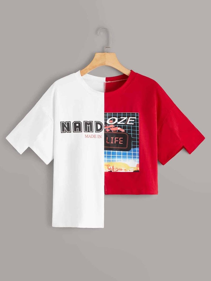 041b2f9388 Camiseta bajo asimétrico empalmada con estampado de letra | ROMWE