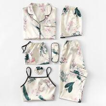 7pcs Floral Print Satin Pajama Set