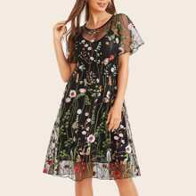 Floral Embroidered Mesh Dress With Cami Dress - $18.00