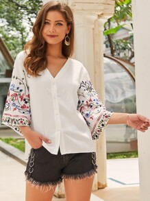 Button Front Embroidery Sleeve Blouse