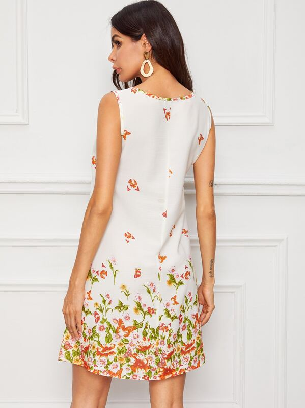a7683aac5 Butterfly & Floral Print Trapeze Dress | SHEIN UK