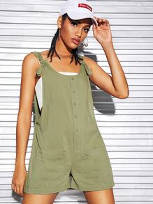 Button Front Pocket Patch Knotted Pinafore Romper