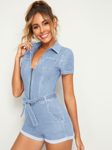 Light Wash Zip Front Belted Denim Romper