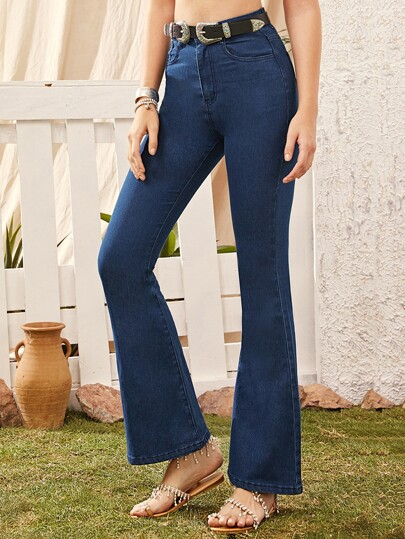 Dark Wash Flare Leg Jeans Without Belt