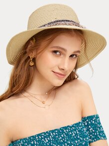 Tweed Decor Straw Hat
