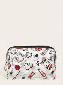 Lipstick & Mouth Pattern Transparent Bag