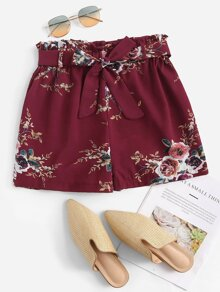 Plus Floral Print Belted Paperbag Shorts