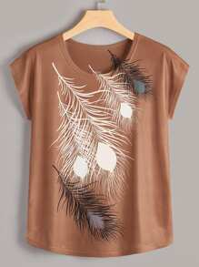 Plus Feather Print Tee