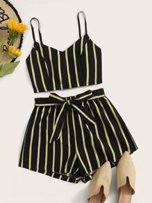 Striped Shirred Back Cami Top With Belted Shorts