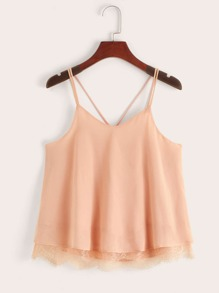 Lace Hem Criss Cross Back Cami Top