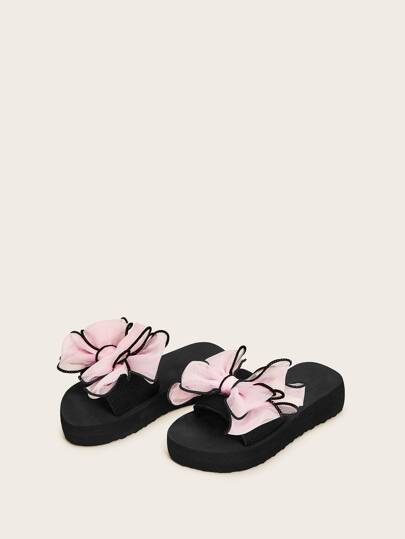 Toddler Girls Open Toe Bow Decor Sliders
