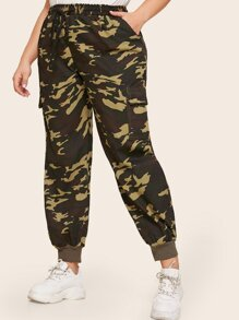 Plus Camouflage Print Pocket Pants