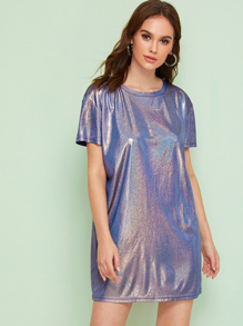 Metallic Drop Shoulder Tee Dress