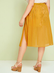 Plus Split High Pleated Skirt