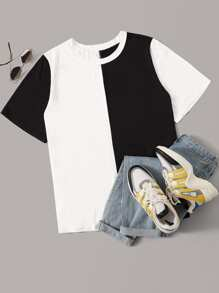 Plus Two Tone Contrast Sleeve Tee