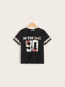 Boys Floral Slogan Print Top
