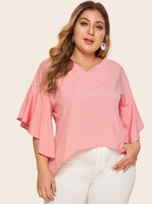 Plus Flounce Sleeve Asymmetrical Hem Top
