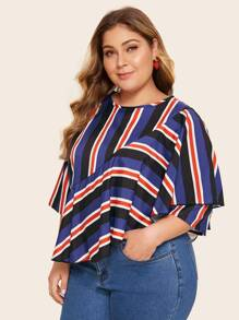 Plus Block Striped Ruffle Trim Blouse