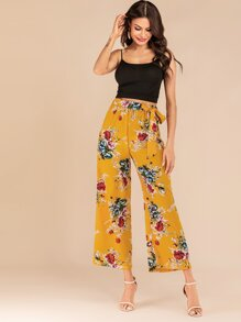 Floral Print Belted Wide Leg Pants