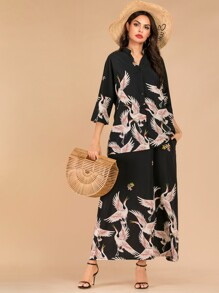 Crane Print Notched Shirt & Hidden Pocket Skirt Set