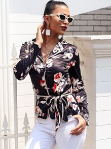 Glamaker Floral Print Notch Collar Belted Satin Shirt