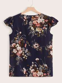 Plus Floral Print Ruffle Armhole Top