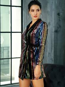 LOVE&LEMONADE Tie Waist Wrap Rainbow Sequin Blazer Dress