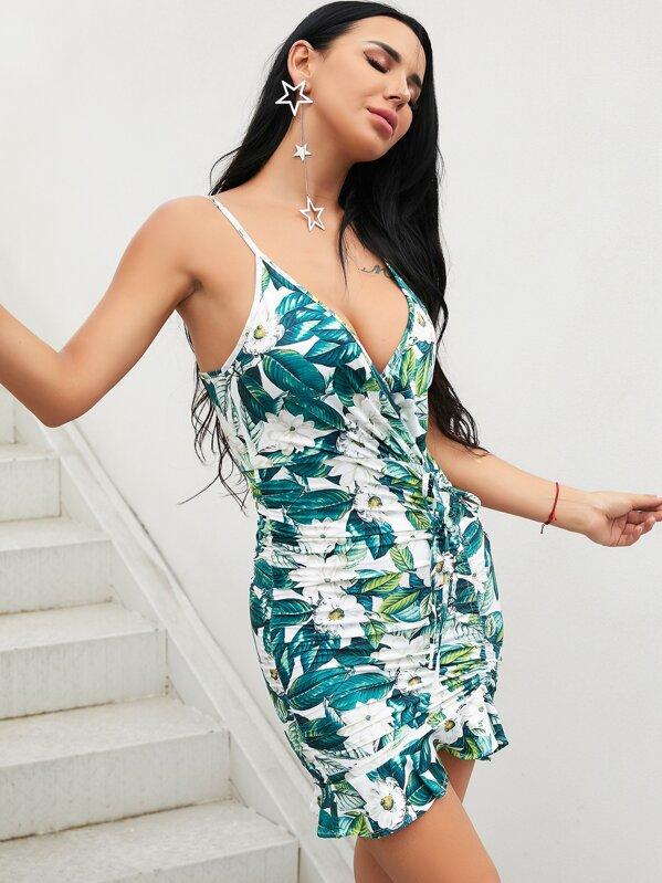 d1211407274e3 Glamaker Leaf Print Drawstring Ruched Slip Dress