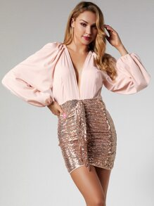 Glamaker Plunge Neck Draped Sequin Bodycon Dress