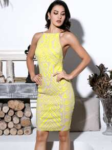 LOVE&LEMONADE Slit Hem Backless Sequin Halter Dress