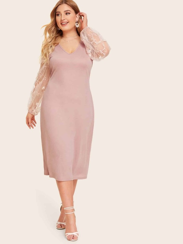 Plus Sheer Embroidered Mesh Sleeve Dress   SHEIN