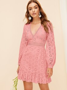 Plunging Neck Lantern Sleeve Eyelet Embroidery Dress