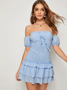 Knot Front Layered Ruffle Hem Shirred Bardot Dress