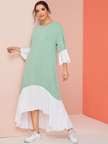 Drop Shoulder Colorblock Ruffle Trim Tent Dress